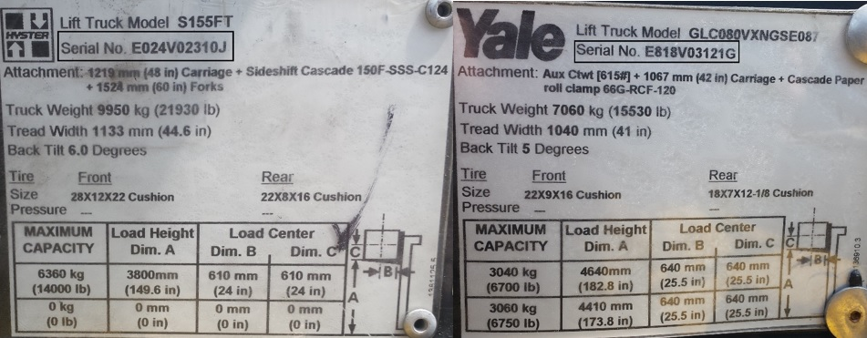 nissan forklift serial number year